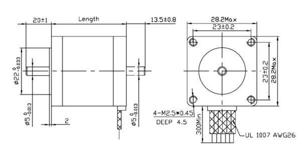 bipolar nema 14 200 adım 35x26 mm 7.4 v step motor - pl-1207 boyutları